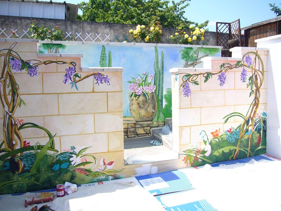 Particulier Réalisation Fresque Extérieure Jardin Privé